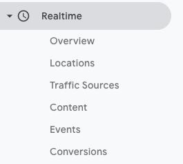 Menu Realtime Google Analytics